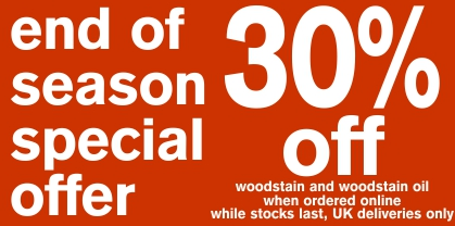 30 percent off woodstain and woodstain oil